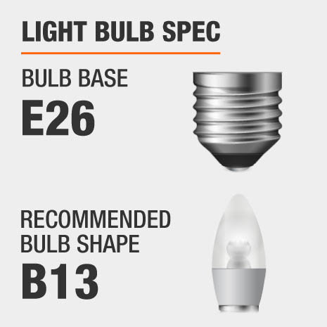 This chandelier requires a E26 bulb base, and a B13-shaped light bulb is recommended.