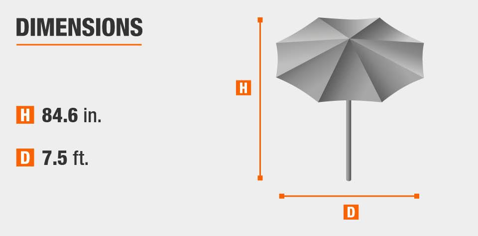 Hampton Bay 7 1 2 Ft Steel Push Up Patio Umbrella In Cafe