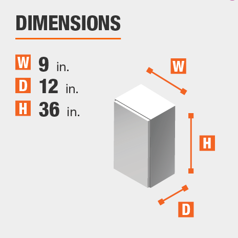 The dimensions for this kitchen cabinet are 9 in. W x 12 in. D x 36 in. H