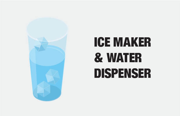 Ice Maker and Water Dispenser Included