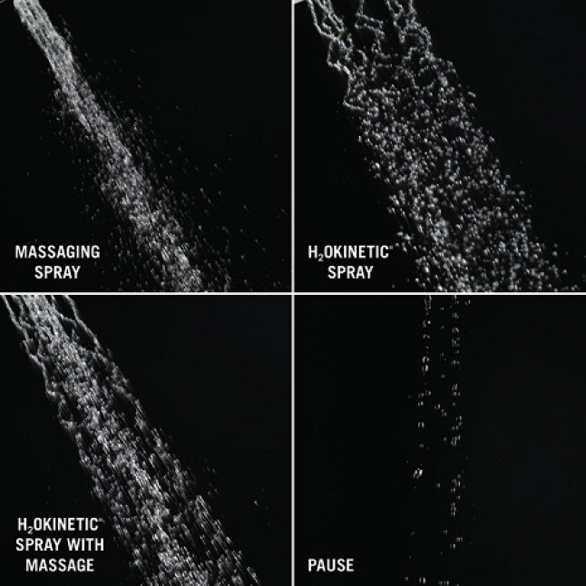 Image shows 4 up-close views of different shower sprays on a black background: PowerDrench spray, PowerDrench with massage, massaging spray and pause