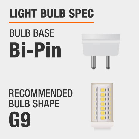 This chandelier requires a Bi-Pin bulb base, and a G9-shaped light bulb is recommended.