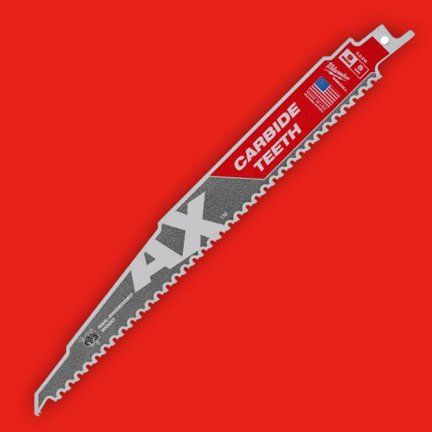 "MILWAUKEE 48-00-5226 9/""L x 5 TPI Wood Cutting Carbide Reciprocating Saw Blade,"