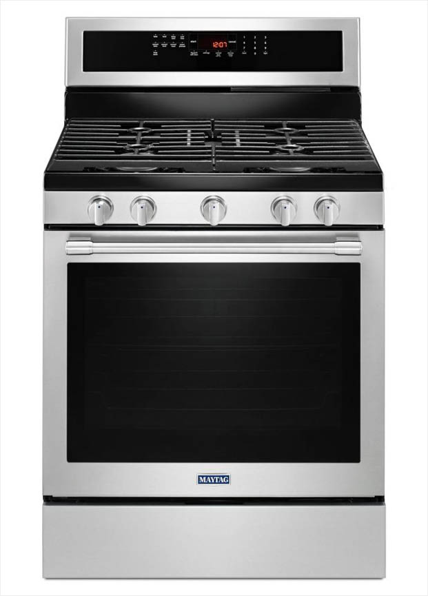 Maytag 58 Cu Ft Gas Range With True Convection In Fingerprint