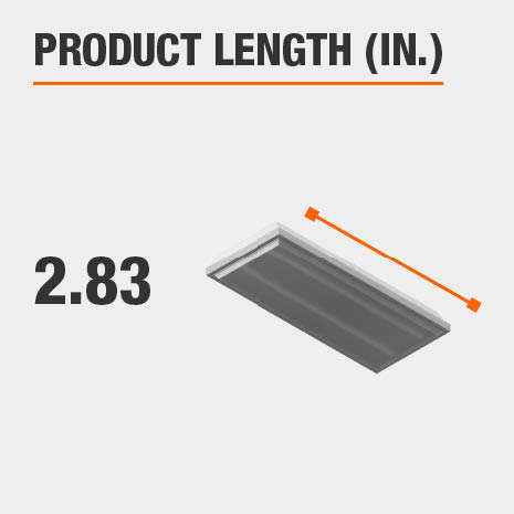 This light fixture has a length of 2.83 inches.