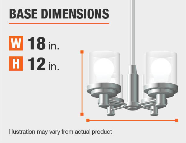 Measurement of a chandelier's base.