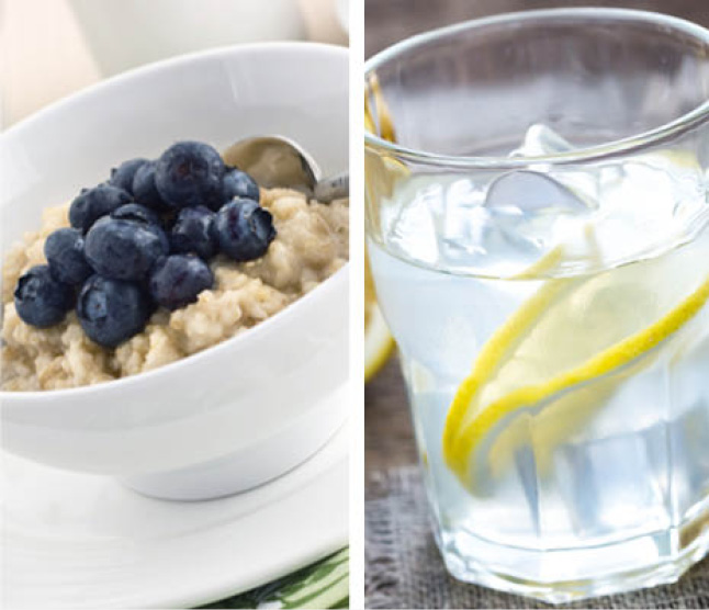 Split image of oatmeal and ice water showing hot and cold uses