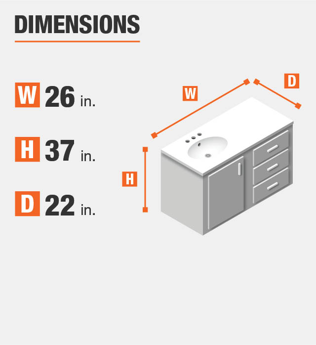 Vanity Product dimensions. Height, length, and width