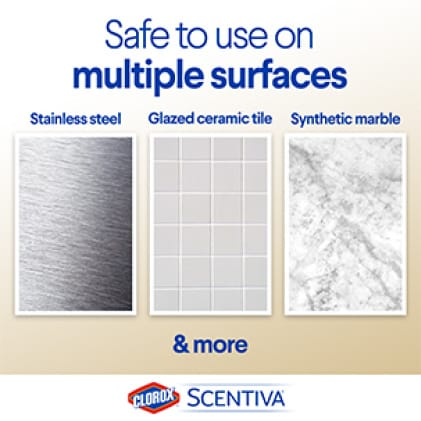 Scentiva Spray Cleaner is safe to use on multiple surfaces like stainless steel, glossed ceramic tile and synthetic marble.