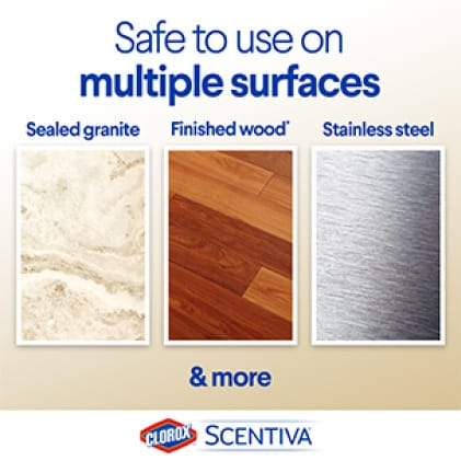 Scentiva Wipes are safe to use on multiple surfaces, like sealed granite, finished wood and stainless steel.