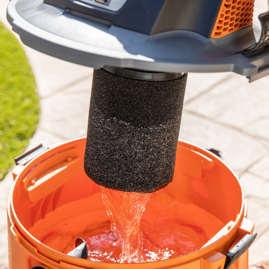 Filter designed with foam material that filters waterborne debris.