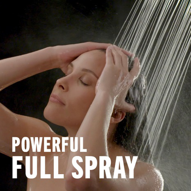 "Image is of a female model (shoulders-up) rinsing her hair with overlaid copy ""Powerful Full Spray"""