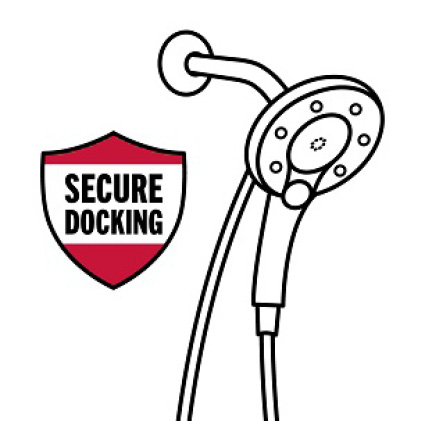 "Image is a black and white icon of an In2ition hand shower/showerhead with shield symbol and copy ""Secure Docking"""