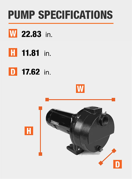 This pumps dimensions are 17.62 in. Depth x 11.81 in. Height x 22.83 in. Width.