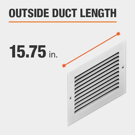 The outside duct length is 15.75 inches.