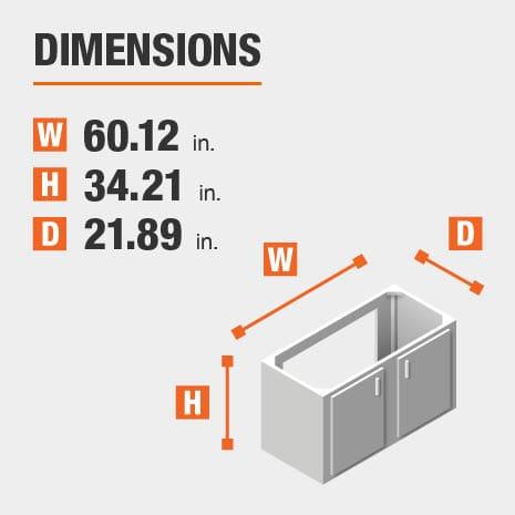 Bath vanity measures as a 60 in. width