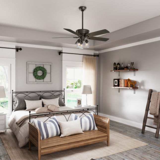 Hunter Oakhurst 52 In Led Low Profile Indoor White Ceiling Fan With Light Kit 52018 The Home