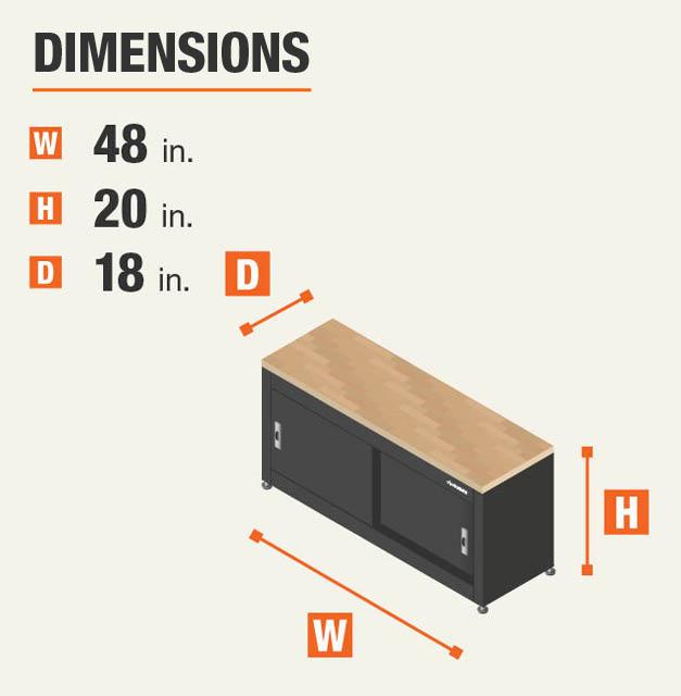 48 in. W x 20 in. H x 18 in. D Garage Storage Bench