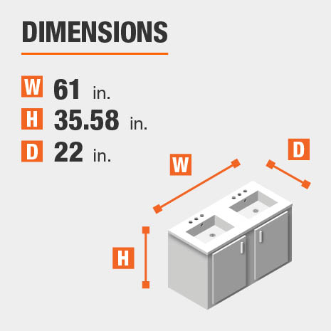 The dimensions of this bathroom vanity are 61.00 in. W x 35.58 in. H x 22.00 in. D