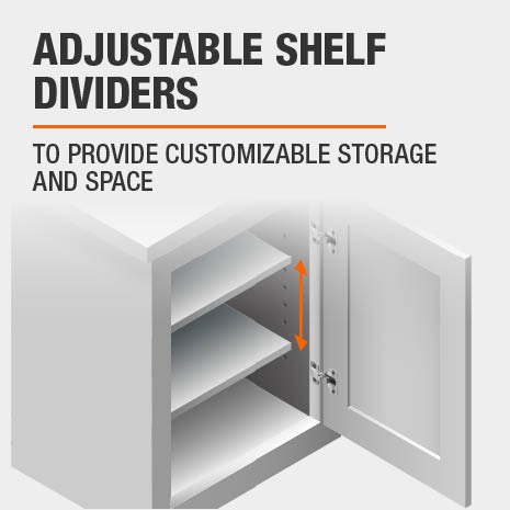 Pantry cabinet that features adjustable shelf dividers for customizable storage