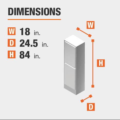 Cabinet dimensions are 84 in. H x 18 in. W