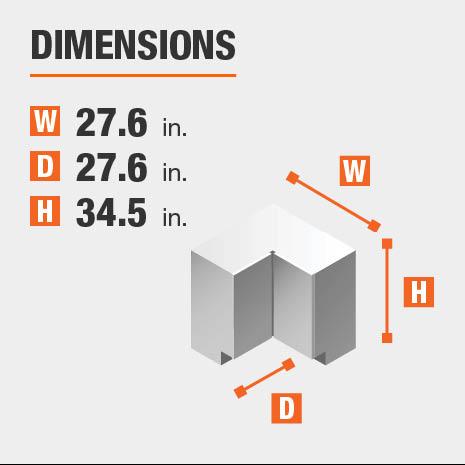 Cabinet dimensions are 34.5 in. H x 27.6 in. W