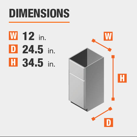 Cabinet dimensions are 34.5 in. H x 12 in. W