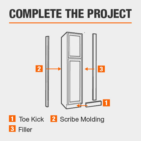 Kitchen cabinet is compatible with a toe kick, scribe, & filler