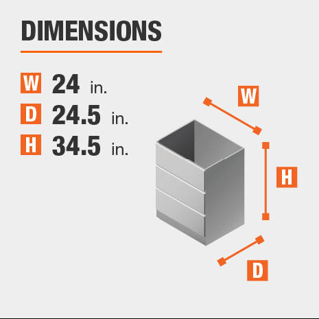 Cabinet dimensions are 34.5 in. H x 24 in. W
