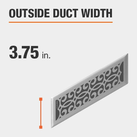 The outside duct width is 3.75 inches.
