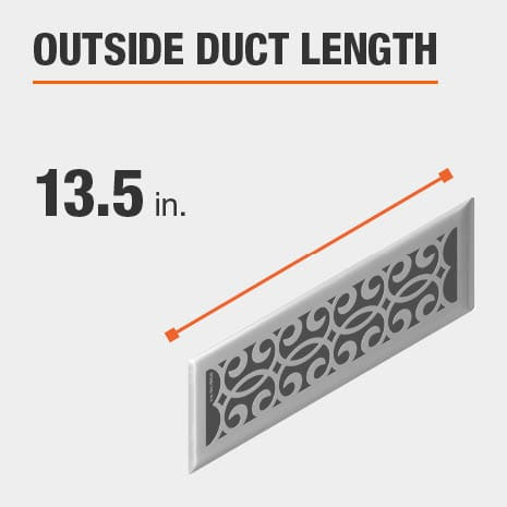 The outside duct length is 13.5 inches.