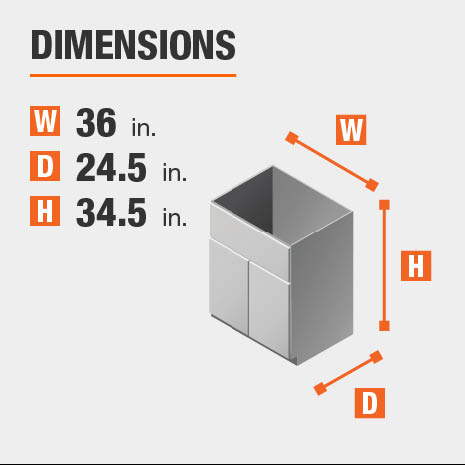Cabinet dimensions are 34.5 in. H x 36 in. W