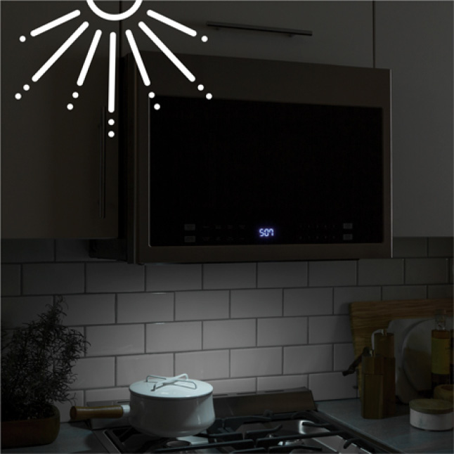 Image of the over the range microwave light on