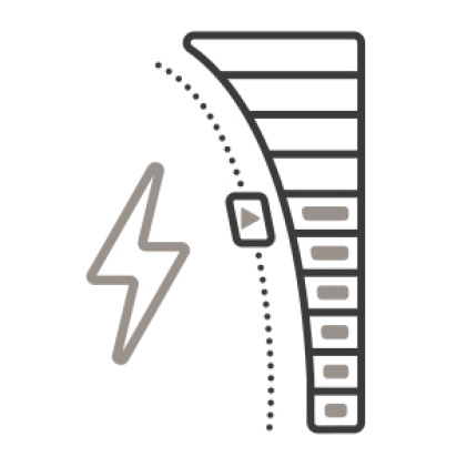 An icon of a slider with a bolt of electricity next to it. Several notches in the slider show the available levels.