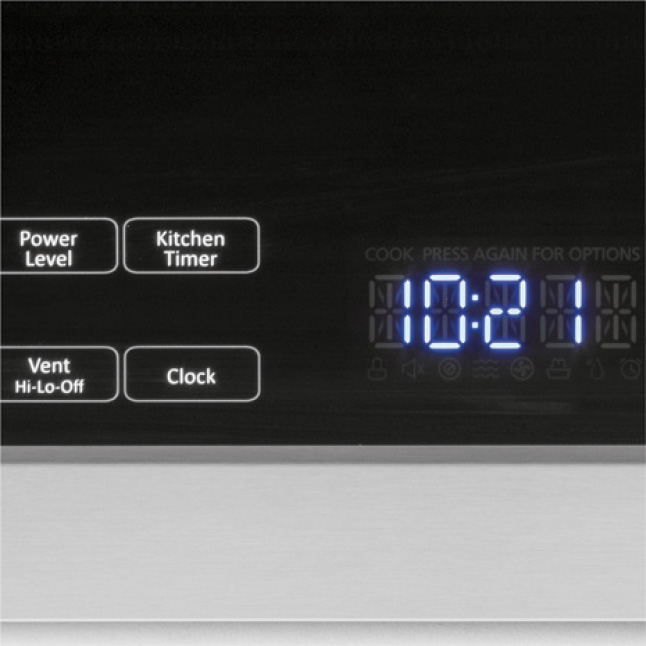 Tight image of the built-in over the range microwave controls