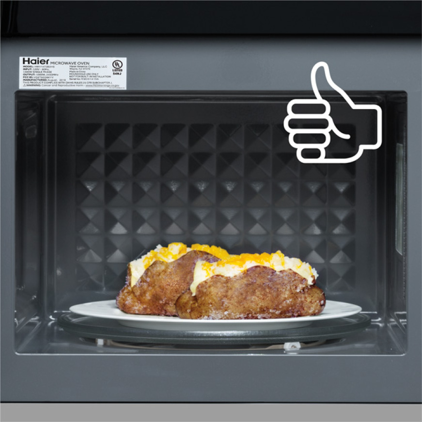 Image of perfectly cooked potato on the over the range microwave turntable
