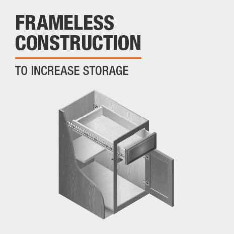 Frameless cabinet construction to increase storage space