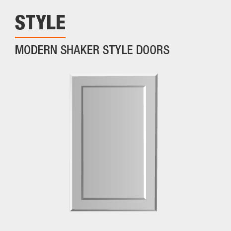 Cabinet features modern shaker style doors