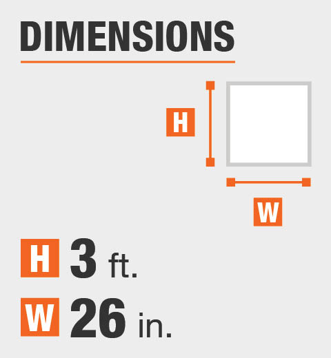The dimensions are 3 foot height and 26 inch width