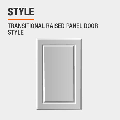 Cabinet features a transitional raised panel door style