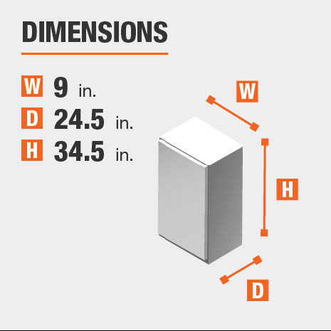 Cabinet dimensions are 34.5 in. H x 9 in. W