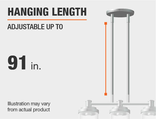 Measurement of a chandelier's hanging length.