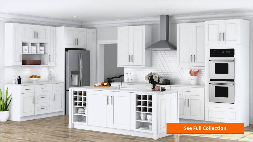 Hampton Bay Shaker Assembled 33x84x24 In Double Oven Kitchen Cabinet In Satin White Kdv3384 Ssw The Home Depot
