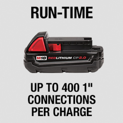 "Presses up to 400 1"" connections on one M18 REDLITHIUM CP2.0 Battery"