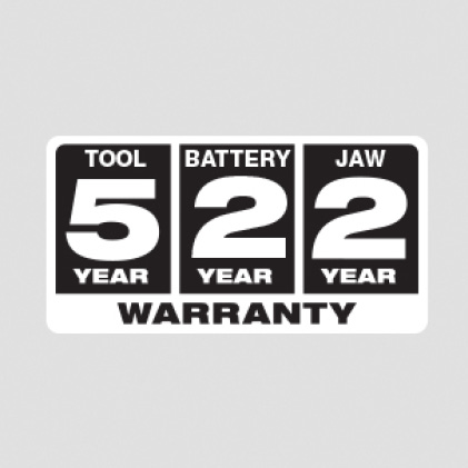 Five Year Tool, Two Year Battery, Two Year Jaw Warranty