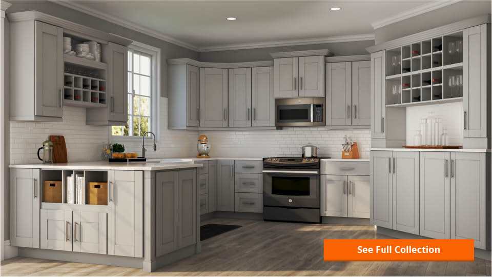 Shaker Wall Cabinets In Dove Gray