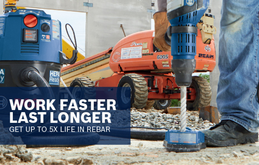 Bosch tools being used on construction site drilling into concrete