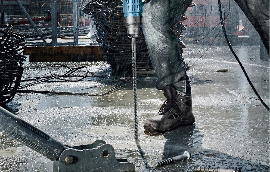 Drilling into wet concrete with Bosch tool and bit