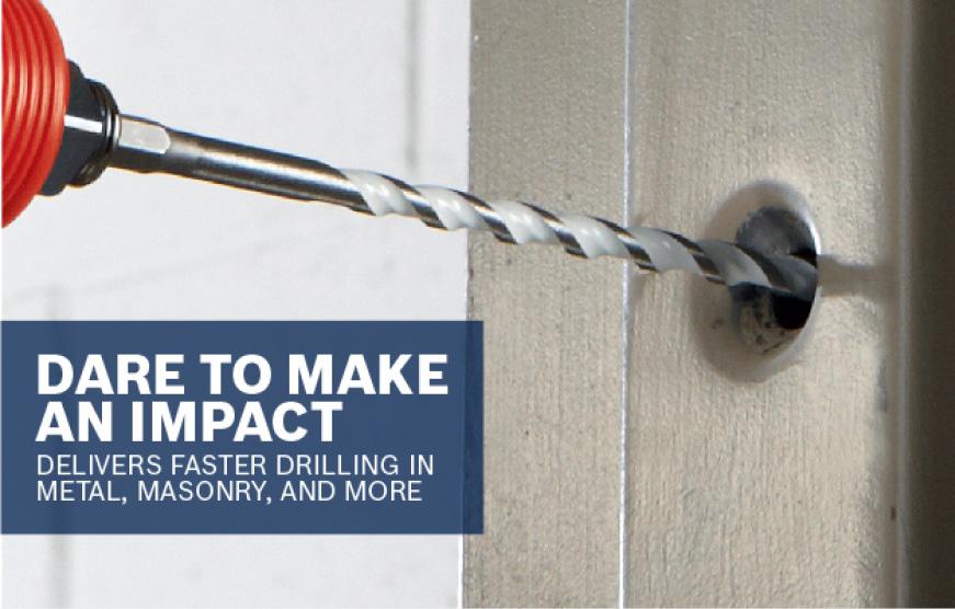 Bosch Multipurpose bit drilling into metal. DARE TO MAKE AN IMPACT.