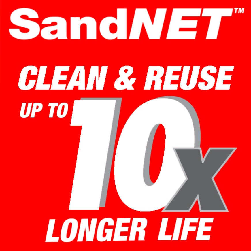 This is an image of SandNet 10x longer life claim.